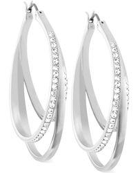 Swarovski Spiral Crystal Pavé Hoop Earrings - Lyst
