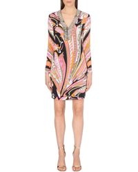 Emilio Pucci Abstract Silk Dress - Lyst