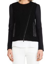 Tibi Boucle Knit and Leather Biker Jacket in Black - Lyst