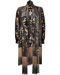 Anna Sui Burn Out Gold Fringe Jacket - Lyst