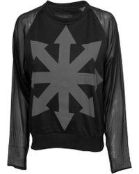 Tuesday Night Band Practice Erudite Contrast Sleeve Sweatshirt Black - Lyst