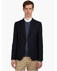 Maison Martin Margiela 14 Mens Navy Slim Single-breasted Canvas Jacket - Lyst