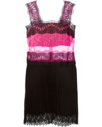 Christopher Kane Lace Trim Pleated Dress - Lyst