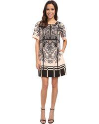 Adrianna Papell Print Heavy Wash 3/4 Sleeve Dress - Lyst