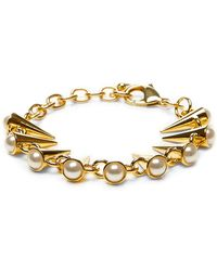 Fallon Swarovski Crystal And Pearl Gold-Plated Bracelet - Lyst