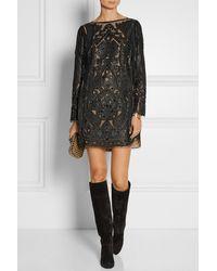 Emilio Pucci Embellished Cutout Leather Mini Dress - Lyst