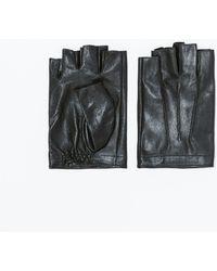 Zara Leather Fingerless Gloves - Lyst