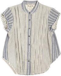 Sea Stripe Button-Up blue - Lyst