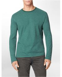 Calvin Klein Jeans Slim Fit Double Layer Cotton Blend Crewneck Shirt - Lyst