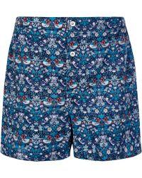 Liberty - Navy Strawberry Thief Cotton Boxer Shorts - Lyst
