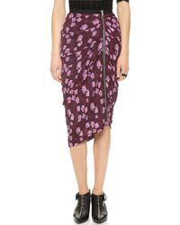 Band Of Outsiders Cherry Blossom Draped Skirt Plum - Lyst