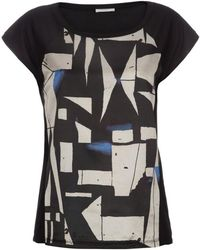 Paul Smith Shirts - Black Silk-Blend T-Shirt With 'Graphic Batik' Front Panel - Lyst