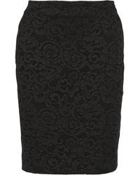 Diane Von Furstenberg Lace-paneled Jersey Pencil Skirt - Lyst