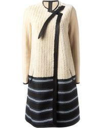 Chloé Shearling Striped Hem Coat - Lyst