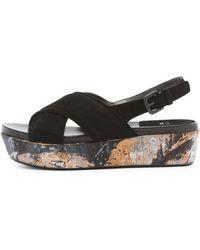 Stuart Weitzman Relax Suede Platform Sandals - Black - Lyst