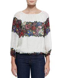 Alice + Olivia Alta Floral-print Peasant Top - Lyst