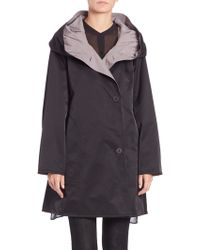 Eileen Fisher Reversible Hooded Coat black - Lyst