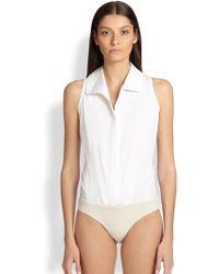 Donna Karan New York Collared Sleeveless Bodysuit - Lyst