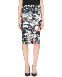 McQ by Alexander McQueen Floral-print Jersey Pencil Skirt - Lyst