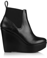 Robert Clergerie Fille Leather Wedge Ankle Boots - Lyst