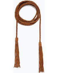 Zara Suede Pompom Belt - Lyst