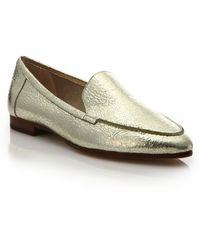 Kate Spade | Carima Crackled Metallic Leather Loafers | Lyst