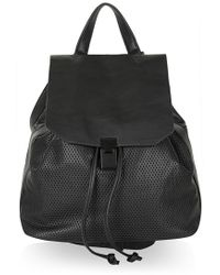 Topshop Perforated Faux Leather Backpack - Lyst