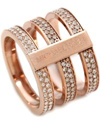 Michael Kors Tri Stack Open Pave Bar Ring Rose Goldclear - Lyst