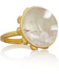Munnu - 22karat Gold Rock Crystal and Ruby Rattle Ring - Lyst