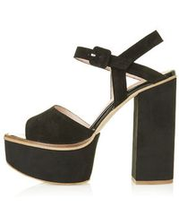 Topshop Lilith Suede Chunky Sandals - Lyst