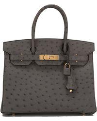 Hermès | Graphite Ostrich Birkin 30cm | Lyst