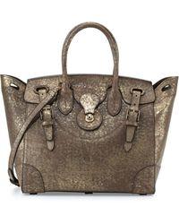 Ralph Lauren Soft Ricky 33 Vachetta Leather Satchel Bag gold - Lyst