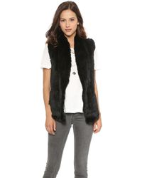 June Knit Fur Vest Black - Lyst