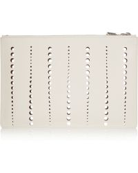 Jil Sander Perforated Leather Clutch - Lyst