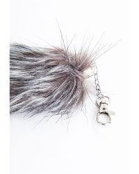 Missguided - Willia Faux Fur Bag Charm Grey - Lyst