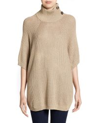 Cotton by Autumn Cashmere | Knit Turtleneck Poncho | Lyst