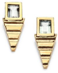 Aesa - Green Amethyst Lunar Pool Stud Earrings - Lyst