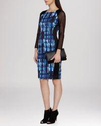 Karen Millen Dress - Graphic Mark Making Print Stretch Signature - Lyst