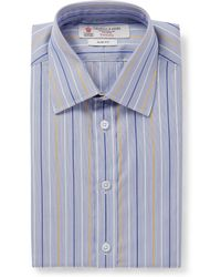 Turnbull & Asser Slimfit Blue Microstripe Cotton Shirt - Lyst