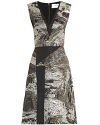 Prabal Gurung Tweed Dress With Leather Collar black - Lyst