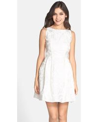 Aidan Mattox Lace Dress In White Ivory Lyst