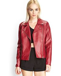 Forever 21 Faux Leather Moto Jacket - Lyst