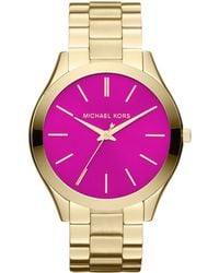 Michael Kors Mid-Size Golden/Pink Stainless Steel Runway Three-Hand Watch - Lyst