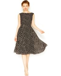 Betsey Johnson Printed A-Line Midi Dress - Lyst