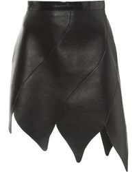 Rodarte | Black Eight Panel Leather Skirt | Lyst