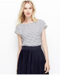 Ann Taylor Striped Shoulder Zip Crepe Top - Lyst