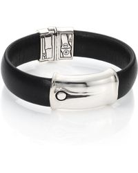 John Hardy | Bamboo Sterling Silver & Leather Station Bracelet | Lyst