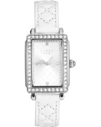 Lipsy - White Quilted Strap Watch with Silver Tone Dial - Lyst