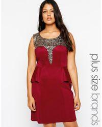Lovedrobe Embellshed Peplum Pencil Dress - Lyst