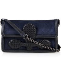 Bottega Veneta Mini Rialto Suede And Snakeskin Shoulder Bag - Lyst